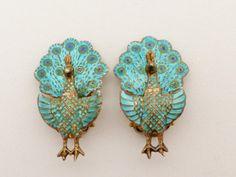 Vintage Peacock Figural Clip Earrings Siam by GliterzbySal on Etsy