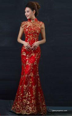Chinese Wedding Fishtail Gown Cheongsam Bridal