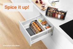 Spice Rack Organiser For Kitchen Drawers. Make seasoning simple with Blum ORGA-LINE spice racks. Tidy and practical, this organiser should be a kitchen staple. Kitchen Cabinets Brands, Kitchen Cabinet Hardware, Kitchen Drawers, Base Cabinets, Kitchen Gadgets, Spice Holder, Spice Rack Organiser, Spice Racks, Cabinet Cleaner