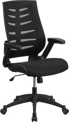 Lovely High Back Black Designer Mesh Executive Swivel Office Chair With Height  Adjustable Flip Up Arms