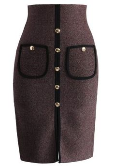 1b22b446da Studded Pockets Knitted Pencil Skirt in Wine Embellished Skirt, Red Skirts,  Cute Skirts,