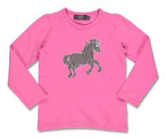 T-shirt with sequin horse. Danish designed fashion for kids.