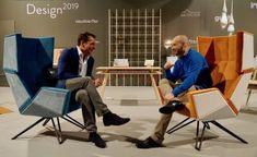 Vienna: Living & Interior 2019 - Sonderschau Design: Designers Christian Lutz & Thomas Schiefer sitting in THE LOB chairs Modern Furniture, Furniture Design, Lob, Exhibitions, Vienna, Designers, Chairs, Christian, Interior