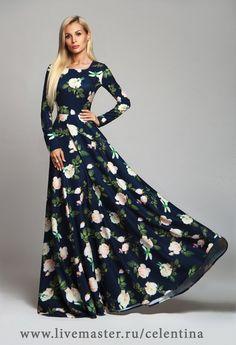 Купить Длинное платье, синее нарядное платье, вечернее цветочное платье в пол - темно-синий