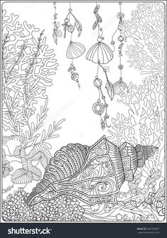 coral, fish and sea shells coloring page for adults : Shutterstock 462750487