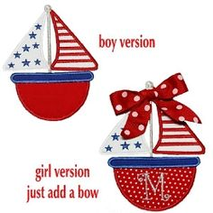 Fourth Sailboat Applique - 3 Sizes! | Boats | Machine Embroidery Designs | SWAKembroidery.com Band to Bow