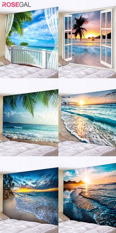 Rosegal beach print wall tapestry travel idea wall tapestry beautiful scenery decoration for studio apartment and house Winter Home Decor, Winter House, Picture Frame Art, Wedding Decorations On A Budget, Studio Apartment Decorating, Queen Pictures, Primitive Homes, Wall Drawing, Beach Print