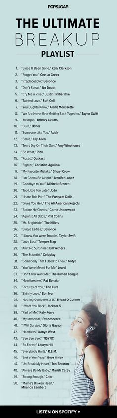 The Ultimate Breakup Playlist.. And which guy goes with which song....