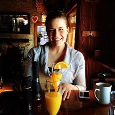 """February 11: Today's photo """"makes me happy."""" I think the picture is self-explanatory - mimosas and Jill Felska! #FebPhotoADay"""