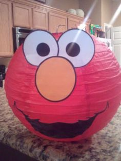 Elmo Chinese Lanterns. BUT instead, connect x1 small lantern to x1 large lantern & make a Panda piñata for our Kung-Fu Panda party! :D