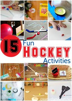 Fun Hockey Activities for Kids – Creative Family Fun All About Hockey! 15 Fun Hockey Activities Your Kids Will Love – Games, crafts, science experiments, and learning activities for kids. Sports Activities For Kids, Gross Motor Activities, Kids Learning Activities, Winter Activities, Preschool Activities, Games For Kids, Fun Games, Kids Sports Crafts, Hockey Birthday Parties