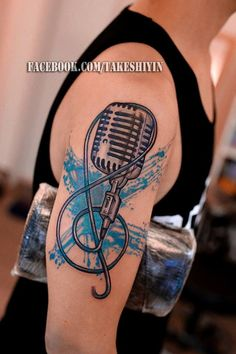 G clef and vintage microphone by Takeshiyin. Mic Tattoo, Microphone Tattoo, New Tattoos, Cool Tattoos, Tatoos, Awesome Tattoos, Music Tattoo Designs, Tattoo Designs And Meanings, Love Symbols