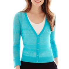 Worthington® 3/4-Sleeve Mixed-Stitch Cardigan Sweater  found at @JCPenney