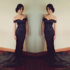2016 Evening Dresses Sexy New Arrival Cheap Mermaid Black Off Shoulder Sleeveless Long Formal Evening Party Gowns Abendkleider