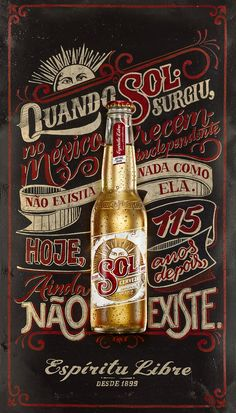 Sign painting poster for Sol beer.