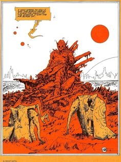 Philippe Druillet Nice splash panel from Heavy Metal in very different, graphic colouring style compared to his usual stuff Art And Illustration, Illustrations And Posters, Fantasy Books, Fantasy Art, Storyboard, Science Fiction Kunst, Character Art, Character Design, Comic Artist