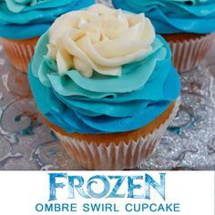 Our gorgeous Frozen Ombre Swirl Cupcakes will be the hit of your Frozen Birthday Party and nobody will suspect how easy these Frozen cupcakes are to make.