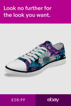 c132d43a8a495 Floral Women Flat Canvas Shoes Lace Up Sneakers Low Top Walking Casual Shoes