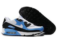 gUKn2R7 Nike Air Max 90 Shoes Mens Blue/Black/White Authentic