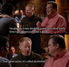 New drinking game (Cam and Mitch, Modern Family). I LOVE YOU CAM (what a funny character & amazing actor u r).but Cam, I agree with Mitch, that's not a drinking game, that's alcoholism. Tv Quotes, Funny Quotes, Modern Family Memes, Modern Family Tv Show, Morden Family, Phil Dunphy, American Dad, Fandoms, Morning Humor