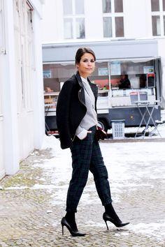 plaid pants + long socks/stockings + heels + grey sweater + black jacket