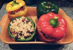 Vegetáriánus kaliforniai töltött paprika a'la janettaylor Ale, Stuffed Peppers, Vegetables, Food, Bulgur, Stuffed Pepper, Vegetable Recipes, Eten, Ales