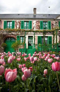 Tulpenwiese mit Villa im Hintergrund