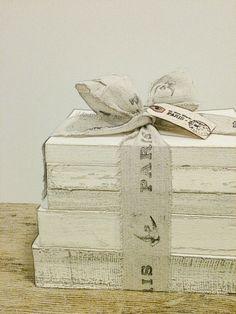 Shabby Chic White Distressed Books