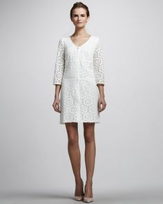 Three-Quarter Sleeve Lace Dress by Laundry by Shelli Segal at Neiman Marcus.