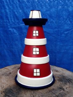 8 Simple Clay Pot Lighthouse Projects for Your Garden Lighthouse Gifts, Clay Pot Lighthouse, Flower Pot People, Clay Pot People, Flower Pot Art, Clay Flower Pots, Clay Pot Crafts, Diy Clay, Tree Drawing Simple