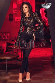 salopeta dama neagra cu dantela Gif Fashion, Atmosphere Fashion, Sexy Outfits, Pretty Woman, Peplum Dress, What To Wear, Jumpsuit, Lingerie, Formal Dresses