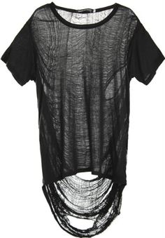 Black Punk Style T-shirt with Semi-sheer Asymmetric Rip Back Ripped Shirts, Tee Shirts, Jersey Shirt, Grunge Style, Mode Outfits, Fashion Outfits, Destroyed T Shirt, Cooler Look, Mein Style