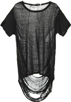 Black Punk Style T-shirt with Semi-sheer Asymmetric Rip Back