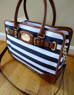 My new baby Michael Kors navy blue & white stripes small tote. #MK #MichaelKors #collection