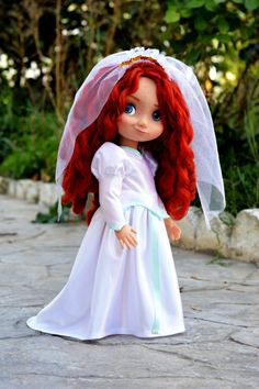 Ariel's Wedding Dress for Disney Animator Doll The Little Mermaid Collection Disney Toddler Dolls, Disney Princess Dolls, Disney Dolls, Baby Disney, Little Mermaid Wedding, Disney Animators Collection Dolls, Little Mermaid Costumes, Doll Face Paint, Ever After Dolls
