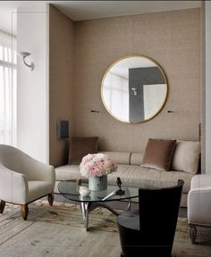 Lovely intimate niche seating with a large mirror to reflect light and bring the outdoors in...