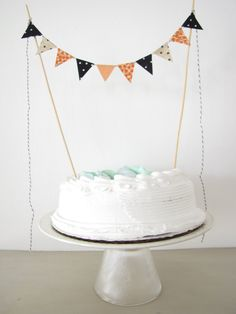 Fabric Cake Topper  Bunting Decoration  by AthenaandEugenia, $8.00