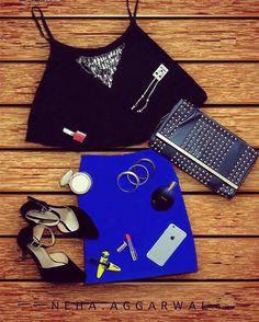 #LookYourBestIn a Black Crop Top and a Blue Skirt