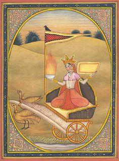 """Dhumavati ( sânscrito : धूमावती, Dhūmāvatī, literalmente """"o smoky"""") é um dos Mahavidyas , um grupo de dez tântricos deusas. Dhumavati representa o aspecto temível de Devi , a Hindu Mãe Divina. Ela é muitas vezes retratada como uma velha, viúva feio, e está associado com as coisas consideradas de mau agouro e pouco atraente no hinduísmo, como o corvo eo Chaturmas período. A deusa é freqüentemente representado em uma carruagem sem cavalos ou andar de corvo, geralmente em um terreno de…"""
