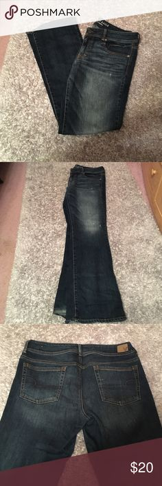 """American Eagle Dark Wash Boot Cut Jeans AE dark wash boot cut jeans. Worn once. Great quality, good condition and comfortable to wear. """"Kick Boot Stretch"""" American Eagle Outfitters Jeans Boot Cut"""