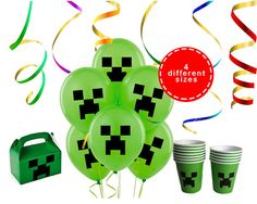 Minecraft Ballons Stickers - Minecraft Party - Instant Digital Download
