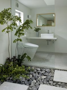 bathroom. Yes, but put some rounded rocks in there. What would Mother Nature…