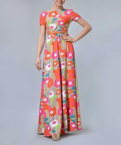 78aeb947cc Pink   Tan Floral Maxi Dress   Belt - Plus - Plus  zulily  zulilyfinds