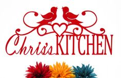 Custom Kitchen First Name Metal Sign - Red, 22x10 by Refined Inspirations