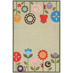 Lil' Momeni Whimsy Floral Collection Kids Area Rug - LMOJULMJ-7GRS