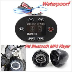 Motorcycle Bluetooth Handlebar Audio Stereo Speaker Sound System MP3 AUX FM+LED