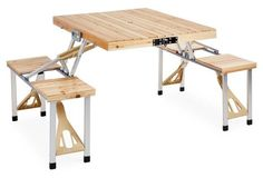 Portable Picnic Table Set, Natural