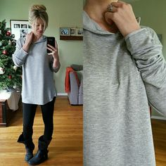 Silky Soft Light Grey Hoodie Tee Brand New, without tags. Excellent condition, Never been worn. Size Small & Medium available (modeling Large) available. This is a Silky soft, lays beautifully. I love the flowy aspects of this top and it's perfect for layering with cute cardis. Lightweight. Price Firm  65% Rayon 32% Poly 3% Spandex Tops Tees - Long Sleeve