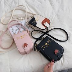 Product ID: Main Material: PU Closure Type: Button Color: Pink, Black, White Size: 28 x 18 (cm) Small Messenger Bag, Girls Bags, Cute Bags, Brown Fashion, Luxury Bags, Fashion Handbags, Cat Ears, Fashion Accessories, Crossbody Bag