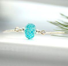 Silver Bangle Bracelet Blue Glass Bangle Beach by WildWomanJewelry, $44.00